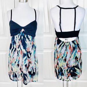 Guess Jeans Multicolor Empire Waist Chiffon Dress